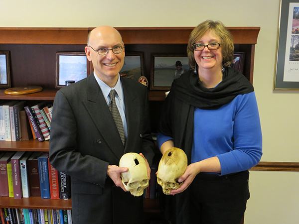 Dean Robert Frank and Dr. Nancy Tatarek share a common interest in bones. On visiting Tatarek's forensic anthropology lab, Frank discovered that they both have skull casts that were surgically perforated, or trephined, about 400 years ago.