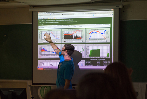 Kyle Clem, a graduate student at Ohio University, explains to Nelsonville-York Elementary School students how data collected from the University's weather tower is relayed to the Scalia Laboratory for Atmospheric Analysis, which is located in Clippinger Lab on the Athens Campus.
