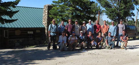 Field hardened geology students at YBRA, Montana, July 26, 2014. Participants (from L to R): 1st row: Craig Grimes (professor), Joe Curry, Cody MacDonald (TA), Daniel Hermanns, Lauren Johnson, Thomas Gregory. 2nd row: Matt Schorr, Nathaniel Simonetti, Jacob Miller, Dan Crumrine, Sarah Maj, Michael Yeager, Greg Ginther, Stu Holmes, Brett Johnson, Doug Green (professor).