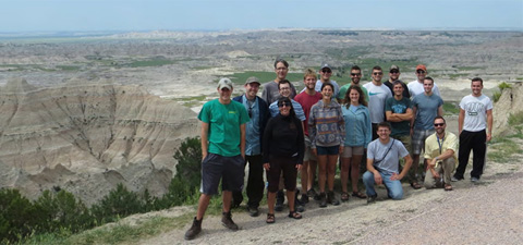 Untested geology students on the way to field camp, Badlands National Park, July 9, 2014.