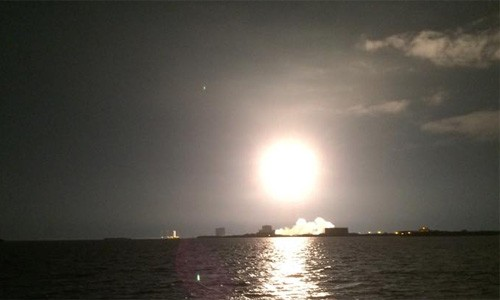 SpaceX rocket lifts off from Kennedy Space Center.