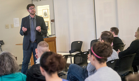 """Matthew Vetter discusses his research during the """"Graduate Research Series @ Alden"""" seminar on April 15, 2015. The Ohio University Libraries and Graduate Student Senate host the series to showcase graduate student research methods. Tyler Stabile/Ohio University Libraries."""