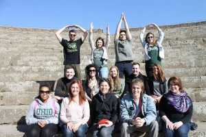 """Participants in the Spring Break 2015 Study Abroad Course: HIST 4536 """"Eternal Rome,"""" pictured in Ostia Antica (district)."""