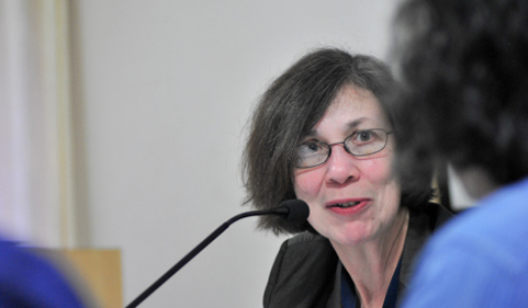 Dr. Carol Greenhouse at the microphone. Photo from the Manipal Centre for Philosophy and Humanities.