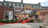 Irvine Hall during demolition of the Ryors Annex.
