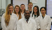Dr. Jules Guei  and Forensic Chemistry students.