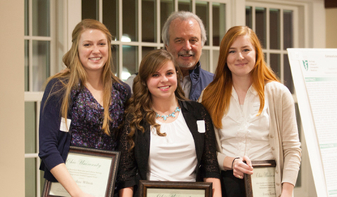 Caroline Wilson, Kimberly Kraus, and Emma Kessler pose for a photo with John Kopchick after recieving their John J. Kopchick Molecular and Cellular Biology Translational Biomedical Sciences Undergraduate Student Support Fund awards in Nelson Commons, on Saturday, November 14, 2015. Photo by Kaitlin Owens.