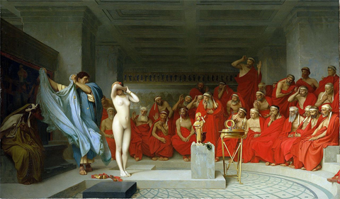 Phryne before the Areopagus by Jean-Léon Gérôme: A depiction of Phryne, a famous hetaera (courtesan) of Ancient Greece, being disrobed before the Areopagus. Phryne was on trial for profaning the Eleusinian Mysteries, and is said to have been disrobed by Hypereides, who was defending her, when it appeared the verdict would be unfavourable. The sight of her nude body apparently so moved the judges that they acquitted her. Some authorities claim that this story is a later invention.