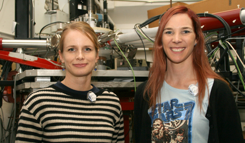"""This is my fourth time visiting the Lab to conduct experiments since 2006,"" says Ann-Cecile Larsen (right) pictured with colleague Therese Renstrom from the University of Oslo. Larsen was a guest seminar speaker for Ohio University's Institute of Nuclear and Particle Physics during her visit."