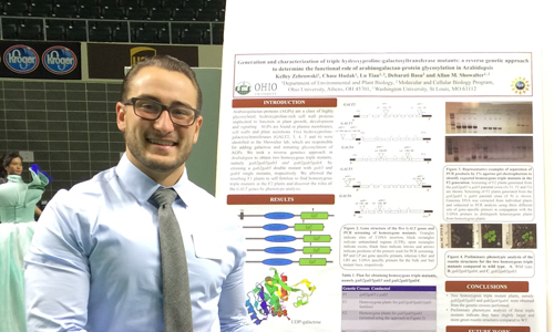 Chase Hudak '17, a Biological Sciences pre-medicine major, presents his research at Ohio University's Student Research and Creativity Expo.