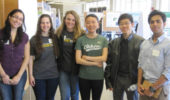 Molecular and Cellular Biology students at Expo, from left: Silvana Duran Ortiz, Debra Walter, Sarah Metro, Yuli Hu, Jason Zhang, Manindra Singh