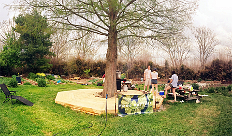 Spring 2016 potluck at the Learning Garden, circled around the tree in the middle of the garden