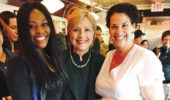 From left, Sharell Arocho, Hillary Clinton and Dr. Sarah Pogionne on May 3 in Athens.