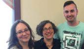 History's Dr. Miriam Shadis and Dr. Mariana Dantas, with graduating senior Michael Lynch