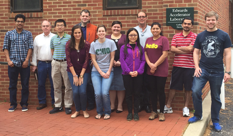 Ohio University Physics & Astronomy research staff and graduate students assist University of Florida researchers in conducting experiments to test neutron detectors used in the nuclear energy industry. From left, Sasmit Gokhale, Don Carter, Haitang Wang, Hannah Gardiner, Dr. Kelly Jordan, Cody Parker, Andrea Richard, Ting Zhu, Devon Jacobs , Shamim Akhtar, Sushil Dhakal, Lucas Rolison (Drs. Tom Massey and Alexander Voinov not shown) Photo: Tom Massey