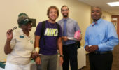 From left, Alum Connie Lawson Davis, Armad Richey, Chris Caldwell, and Dr. Akil Houston