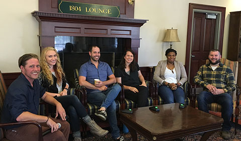 Paul Patton, Tatiana Fox, Josh McConaughy, Staci Spertzel-Black, Basia Howard, Adam Wellspring in the 1804 Lounge