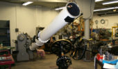 A portion of the Fecker telescope awaits its new home.