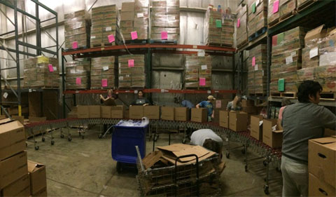 Boxes stacked at SE Ohio Food Bank