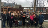 OHIO students in front of the Jeanie Johnston Famine Ship in Dublin, Ireland