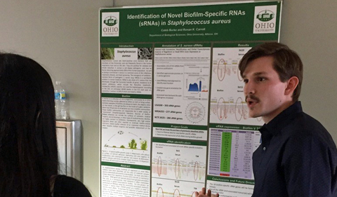"Caleb Burke won the Allan A. Ichida Undergraduate Research Award at the conference. His presentation was on ""Identification of Novel Biofilm-Specific RNAs (sRNAs) in Staphylococcus aureus."""