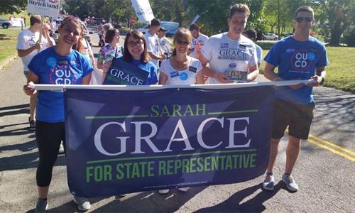 Jake McClelland (second from right) completed an internship with Sarah Grace's campaign.
