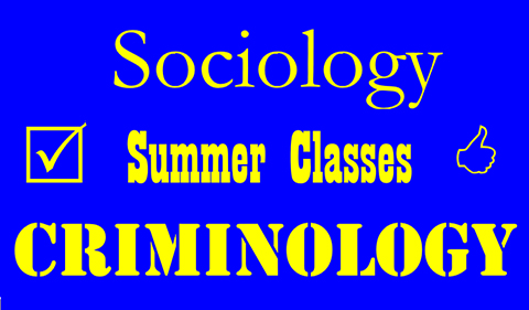 Sociology Summer Classes Criminology stacked with checked box on one side and thumbs up on the other