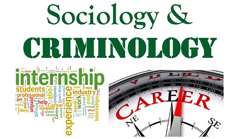 Sociology and Criminology with word cloud about internships and art of compass with directional arrow over the word career