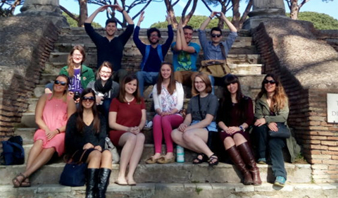 "Students of the Spring 2017 edition of ""Eternal Rome."" Photo by Dr. Jaclyn Maxwell."