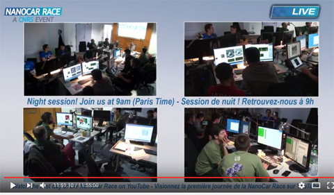 The Ohio University team drives the OHIO Bobcat Nanowagon from the control room in France.