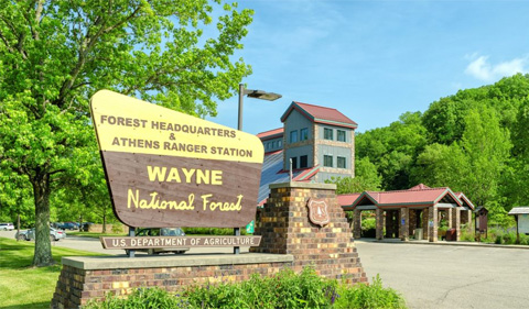 Wayne National Forest headquarters sign. Photo Credit: Kyle Brooks