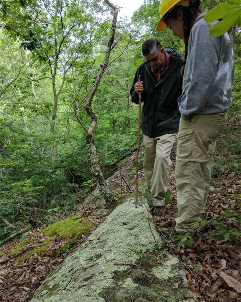 Ray Showman and Emily Penn observing lichens on a rock.