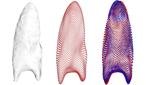 Scientists analyzed three-dimensional models of Clovis projectile points from Smithsonian and other museum collections to examine how patterns and marks made in crafting these tools began to vary regionally 12,500 years ago. These regional differences signal cultural diversification and adaptation, suggesting that groups of early hunter-gatherer Americans may have changed the way they were social interacting at this time. This figure shows one analysis used to study shapes left behind from their production on either side of the projectile points. Credit: Sebastian Wärmländer, Stockholm University