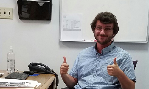 Kees Vande Stadt at his internship in Saint Joseph's Carpenter Society is a nonprofit organization in East Camden, NJ.