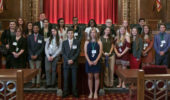 Two interns, first in the back row, Gabrielle Tharp and Casey Tisdale, pose with the Summer Law & Trial Institute 2017 cohort at the Ohio Supreme Court.