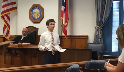 Joey Derrico presents closing arguments at the mock trial in the Athens Courthouse