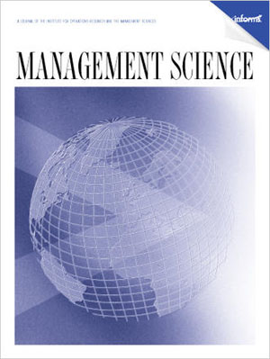 Management Science journal, wiht graphic of globe on cover