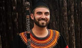 Sean Potts in March 2016 in traditional Kenyan dress at the Guzang Queen Mother's funeral. Cultural integration was an important part in opening doors and being accepted by the community in this very social culture.