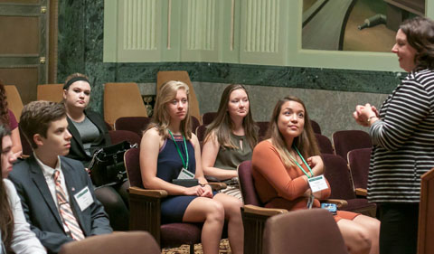Institute students listen to information about the history of the Supreme Court building from Sara Stiffler, Interim Director of Civic Education and Outreach Programs at the Supreme Court. From left, Cormac Frank-Collins, Joey Derrico, Gabrielle Tharp (intern), Avery Robinson, Danielle Klein, and Natalie Sanchez-Carrillo.