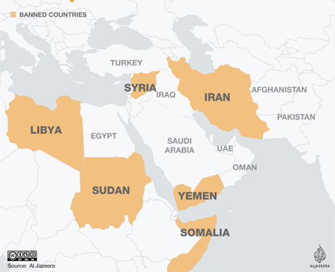 "[Map showing the six countries identified in the Trump Administration's 2017 ""Travel Ban""] Libya, Sudan, Syria, Iran, Yemen, Solamia"