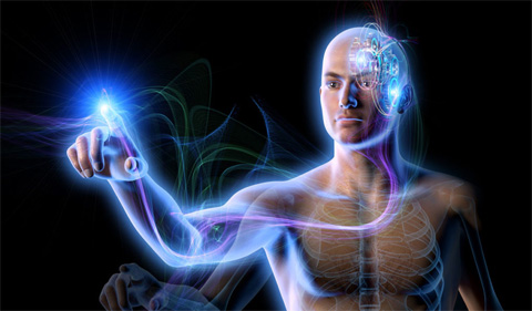 Graphic showing human brain interface, with man and nueral pathway lit in blue light.