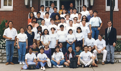 Fulbright visitors in 1993, group shot on steps of Gordy Hall