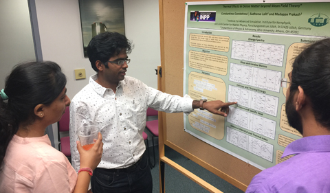 Doctoral student Sudhanva Lalit (center) presented, Thermal Effects in Dense Matter Beyond Mean Field Theory.