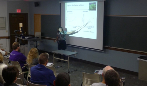 Marion Holmes, Ph.D. student, gives a talk in Porter Hall about research she presented at the Ecological Society of America meeting last summer in Portland, OR.