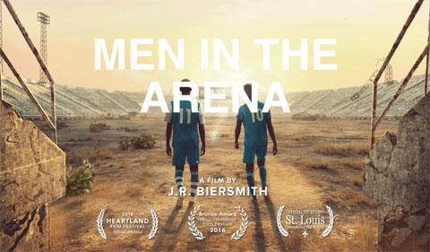 Men in the Arena title slide, showing two men walking into sunset