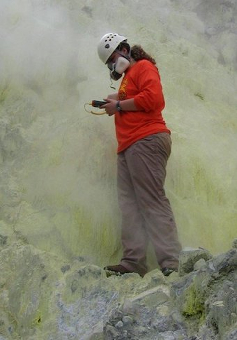 Dr. Patricia Nadeau taking the temperature of the fumarole (gas vent) at Poas Volcano, Costa Rica
