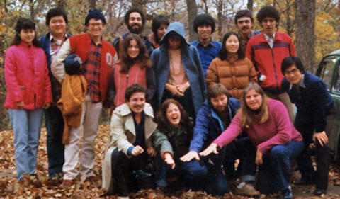OPIE students in the early 1980s, group photo in fall colors