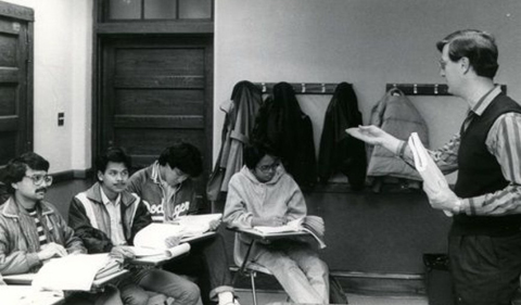 OPIE 1980s classroom, black and white classroom