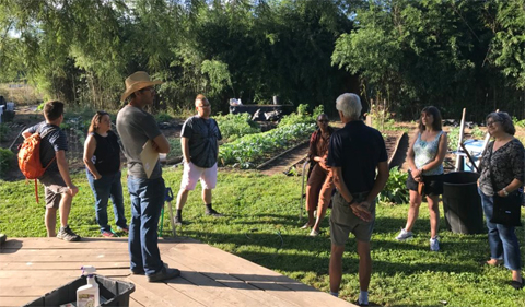 Solid Ground Farm owner Weston Lombard at the Plant Biology Learning Gardens