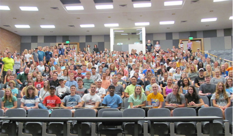 Biology Class of 2021, shot of more than 300 students